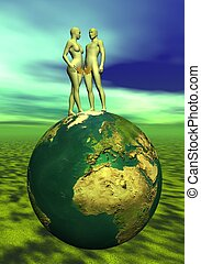 Adam and Eve upon the earth - Adam and Eve with leaf upon...