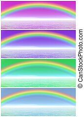 Rainbow set - Set of rainbow in different color background