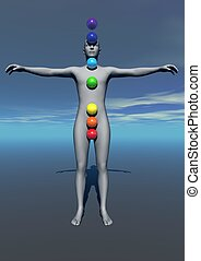 Human and chakras colors - Human standing and balls with...