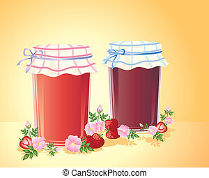 home made jam - an illustration of two jars of home made jam...