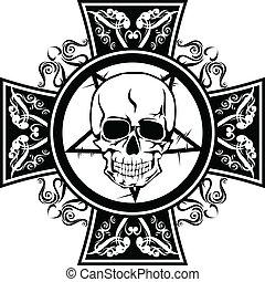 skulls in cross - Vector image human skulls in cross