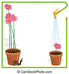 Garden Party Invitation - Cute little snail and flower pots...