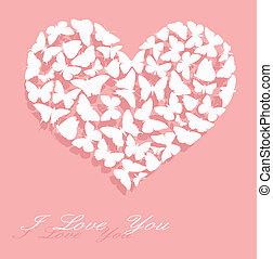 I love You Valentines Day Card - White heart made of...