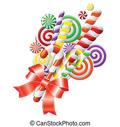 Lollipops with red ribbon - Bunch of colorful candies with...