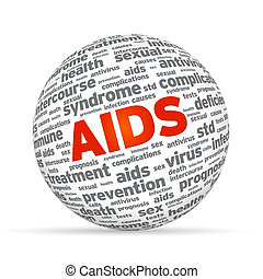 Aids 3d Sphere - 3d Sphere with the word aids on white...