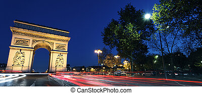 Panoramic Arc de Triomphe by night - Panoramic view of Arc...