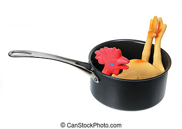 Toy Rubber Chicken in Pot on White Background