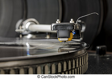 vinyl record player - the cartridge is ready to start...