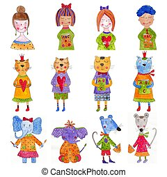 Set of cartoon characters - Artistic work. Watercolours on...