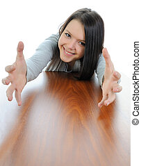 Outstretched hands. - Beautiful girl with outstretched...