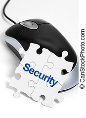 Web Security - computer mouse and Puzzle, business concept...
