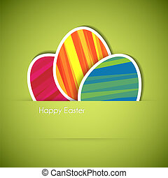 Vector green Paper easter egg card - Vector green Paper card...
