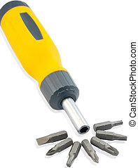set of screwdriver heads - Isolated on a white background...
