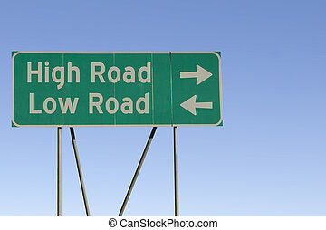 High and low road sign.