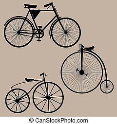 Vintage bicycles - Silhouettes of three vintage bikes....