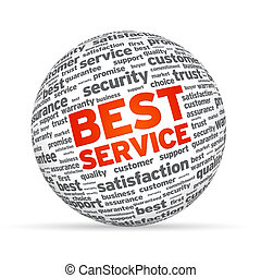 Best Service 3D Sphere on white background.