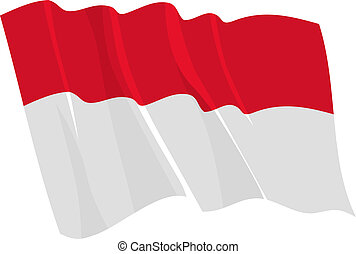waving flag of Indonesia