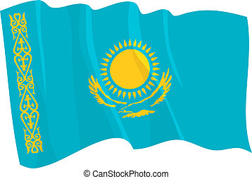 waving flag of Kazakhstan