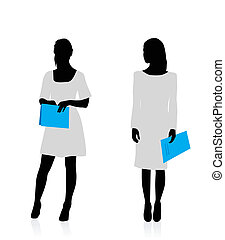 Business woman silhouettes - Silhouettes of a business women...
