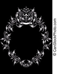 Frame of silver leaf in old style