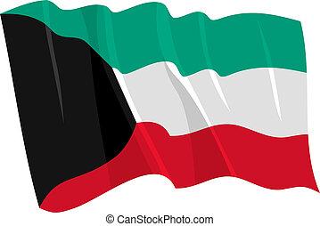 waving flag of Kuwait