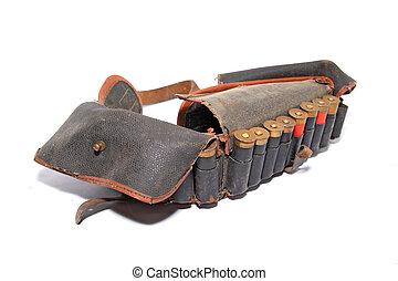 old cartridge belt on white background