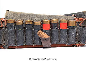 old cartridge belt on white background