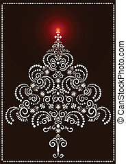Openwork Christmas tree on a dark b