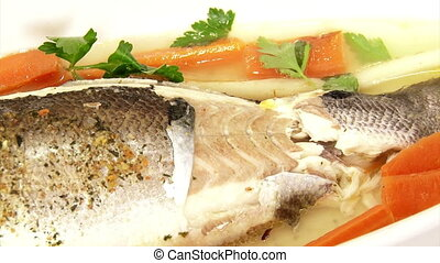 Fish, sea bass, served, closeup, food