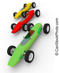 coches antiguos - Three old fashioned cars in green red and...