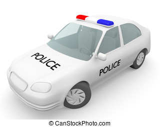 Police car in white. Security concept. 3d Illustration.