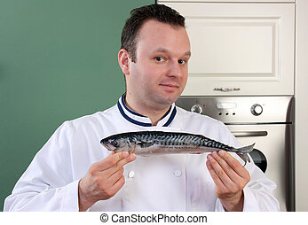 Chef and fish - This is a fish for tonight meal! Chef is...