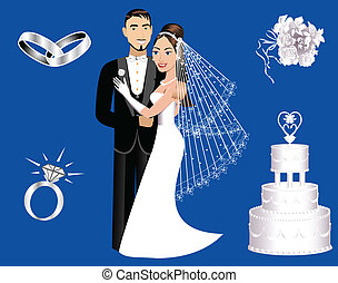 Wedding Icons - Vector Illustration of a wedding couple and...