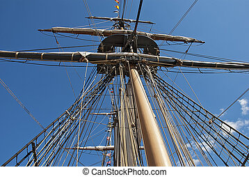 Rigging on a sailing vessel - Rigging on the USS Brig...