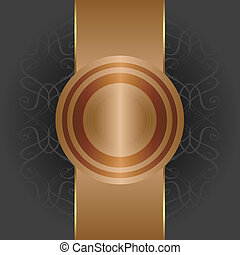 Abstract background with gold banner, vector illustration