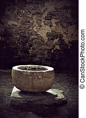 Ancient vessel - Ancient round vessel in a medieval church