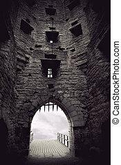 medieval, castillo, puerta
