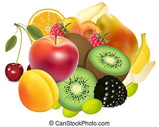 variedad, exótico, frutas
