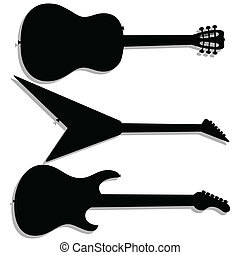 Guitar silhouettes - Illustration guitar silhouette on a...