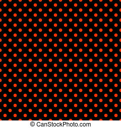Black and Bright Red Polkadot Pattern - Seamless polkadot...