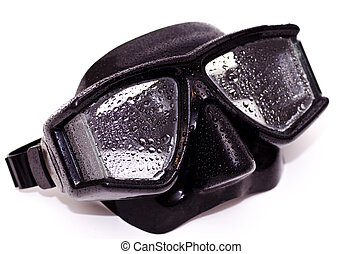 Dive mask - A black dive mask with water on it