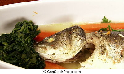 Fish, sea bass, served, closeup