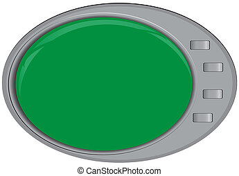 Modern technologies Oval screen with control buttons Vector...