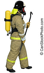 Firefighter breathing apparatus with a crowbar in his hand -...