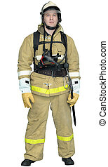 Firefighter in a special outer protective clothing