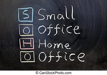 SOHO, small office home office - Chalk writing - SOHO, small...