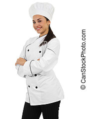 Female Chef - Stock image of female chef isolated on white...