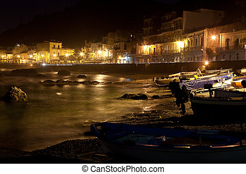 Sicilia - town view at night - Sicilia - Giardini Naxos town...