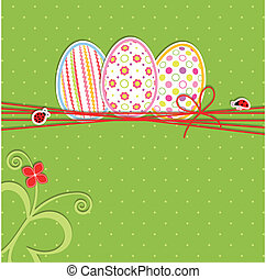 Easter holiday greeting card - Easter holiday colorful...