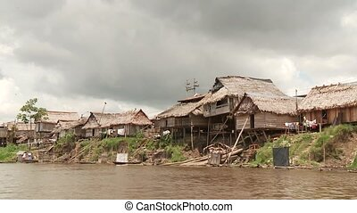 Slums At Amazon River, Southamerica Belen, Iquitos, Peru